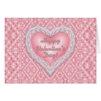 Happy Valentine's Day pink lace heart Greeting Card