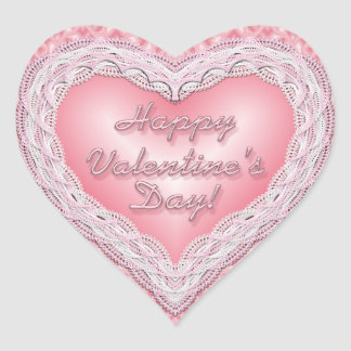 Happy Valentine's Day pink lace heart Heart Sticker