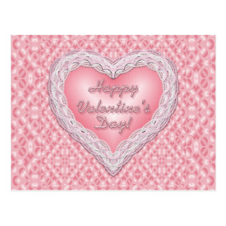 Happy Valentine's Day pink lace heart Postcard
