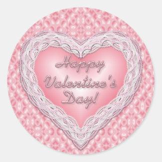 Happy Valentine's Day pink lace heart Round Sticker