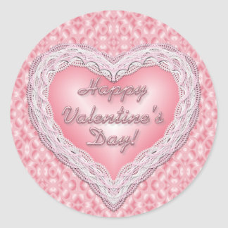 Happy Valentine's Day pink lace heart Classic Round Sticker