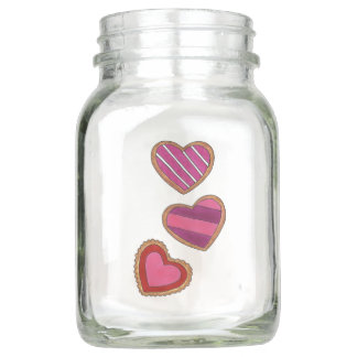 Happy Valentine's Day Pink Red Heart Love Cookies Mason Jar