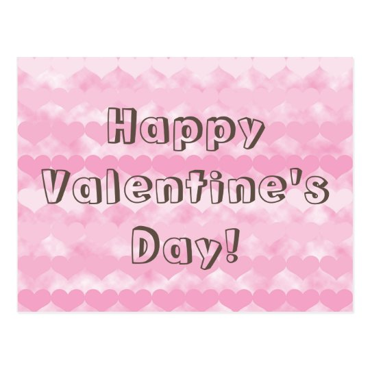 Happy Valentine's Day Pink Valentine Hearts Postcard