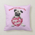Happy Valentines Day Pugs N Kisses Pug Tees, Gifts Throw Pillow