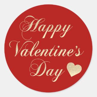 HAPPY VALENTINE's DAY Red Gold Glitter Heart Classic Round Sticker