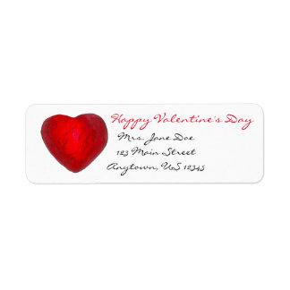 Happy Valentine's Day Red Heart Love Address Label