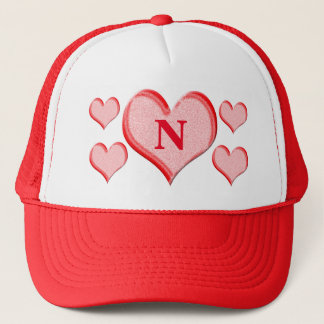 Happy Valentine's Day Red Hearts Initial Trucker Hat