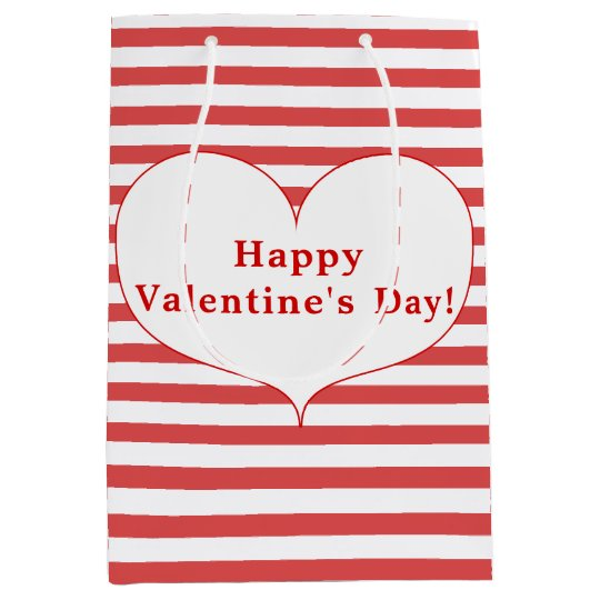 Happy Valentine's Day Red Stripes & Heart Gift Bag