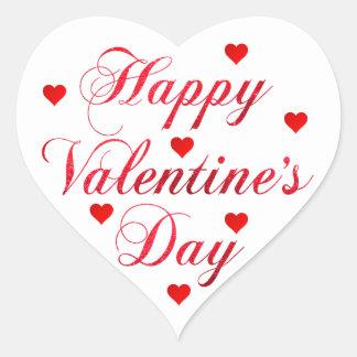 HAPPY VALENTINE's DAY Red White Glitter Heart Heart Sticker