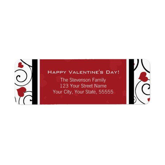 Happy Valentine's Day Return Address Labels Red