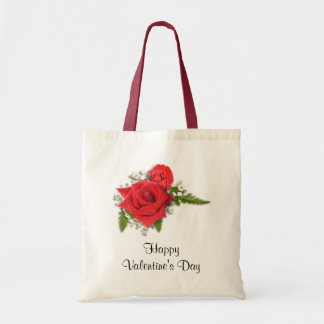 Happy Valentines Day Romantic Red Roses Budget Tote Bag
