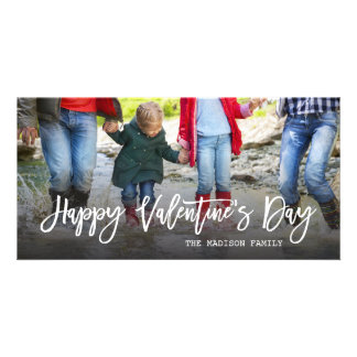Happy Valentine's Day Trendy Script Photo Photo Card Template