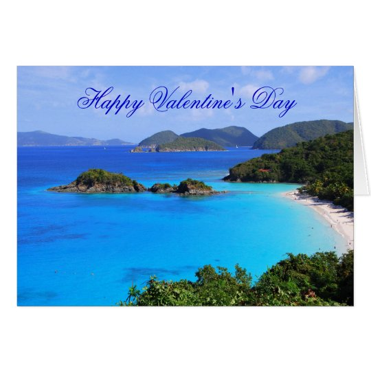 Happy Valentine's Day, Tropical Beach Card