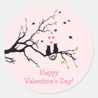Happy Valentine's Day Two Black Cats in Love Classic Round Sticker