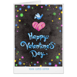 Happy Valentines Day Typography Cute Bird & Heart Card