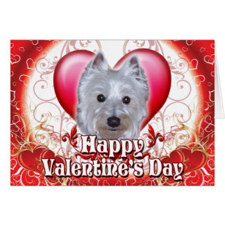 Happy Valentines Day Westie Card