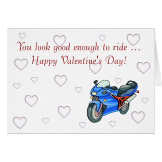 Happy Valentine's Day with motorbike for biker Card