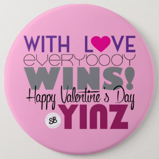 Happy Valentine's Day Yinz Mega Button Pin - Pink