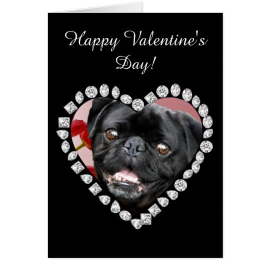 Happy Valentine's Pug Dog greeting card