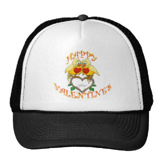 Happy valentine's, two love birds, on a hat. trucker hat