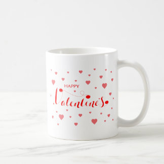HAPPY VALENTINE's with red Hearts Coffee Mug