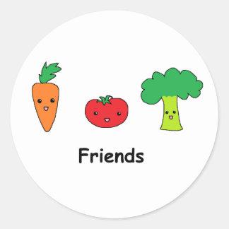 Happy Vegetable Friends Round Sticker