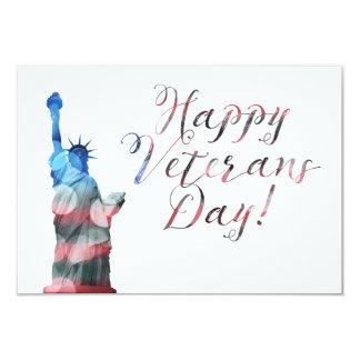 "Happy Veterans Day (liberty bokeh) 3.5"" X 5"" Invitation Card"