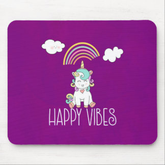 Happy Vibes Cute Smiling Unicorn Mouse Pad