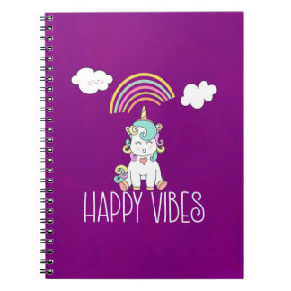 Happy Vibes Cute Smiling Unicorn Notebook