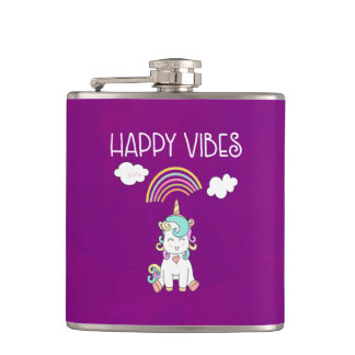 Happy Vibes Typography Awesome Rainbow & Unicorn Hip Flask