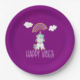 Happy Vibes Typography Awesome Rainbow & Unicorn Paper Plate
