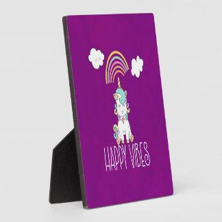 Happy Vibes Typography Awesome Rainbow & Unicorn Plaque