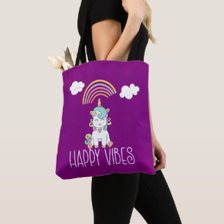 Happy Vibes Typography Awesome Rainbow & Unicorn Tote Bag