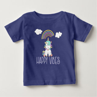 Happy Vibes Typography Cute Smiling Unicorn Baby T-Shirt
