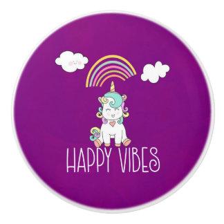 Happy Vibes Typography Cute Smiling Unicorn Ceramic Knob