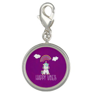 Happy Vibes Typography Cute Smiling Unicorn Charm