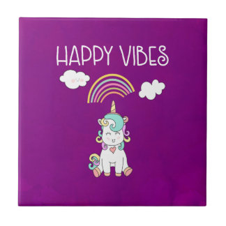Happy Vibes Typography Cute Smiling Unicorn Tile