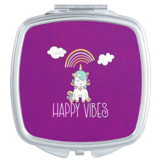 Happy Vibes Typography Cute Smiling Unicorn Travel Mirror