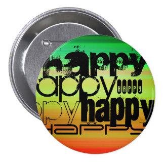 Happy; Vibrant Green, Orange, & Yellow 3 Inch Round Button