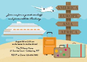Bon voyage invitations announcements zazzle ca happy voyage farewell party invitation stopboris Image collections