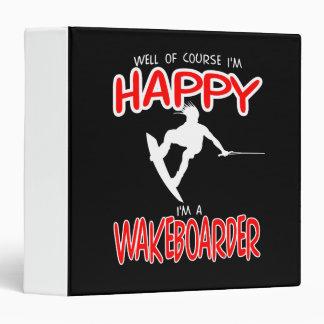 HAPPY WAKEBOARDER (white) Vinyl Binder