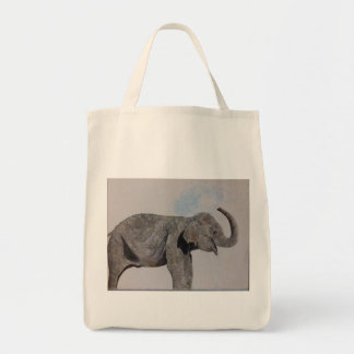 Happy water elephant  tote shopping bag