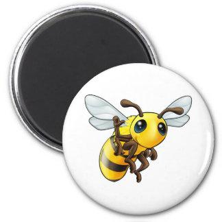 Happy waving cartoon bee magnet