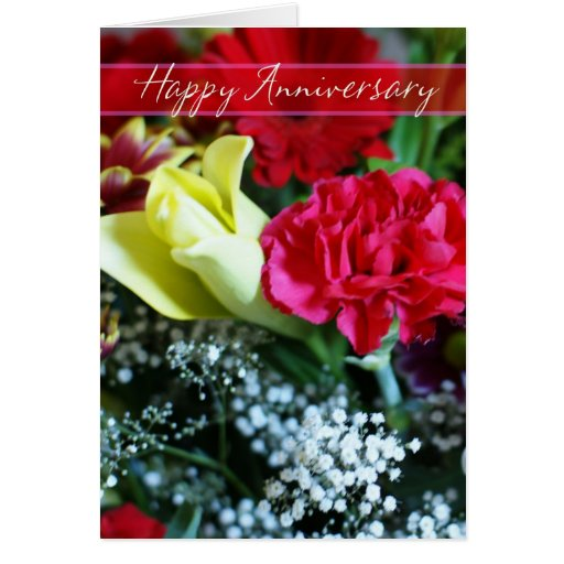 wedding anniversary flowers happy wedding anniversary bouquet of flowers card zazzle 8390