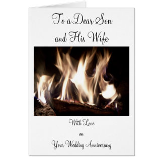 Happy Wedding Anniversary Son And Wife Fire Greeting Card