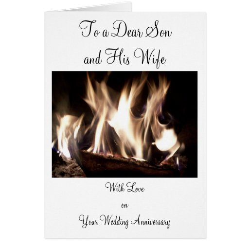 Happy Wedding Anniversary Son And Wife Fire Greeting Cards
