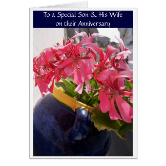 Happy Wedding Anniversary Son And Wife Fuchsia Greeting Card