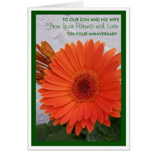 Happy Wedding Anniversary Son And Wife Gerbera Greeting Card