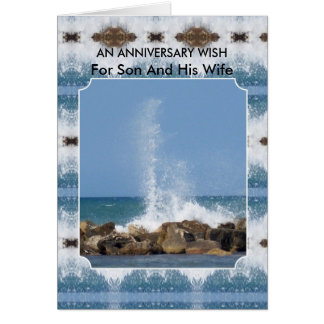 Happy Wedding Anniversary Son And Wife Sea Greeting Card
