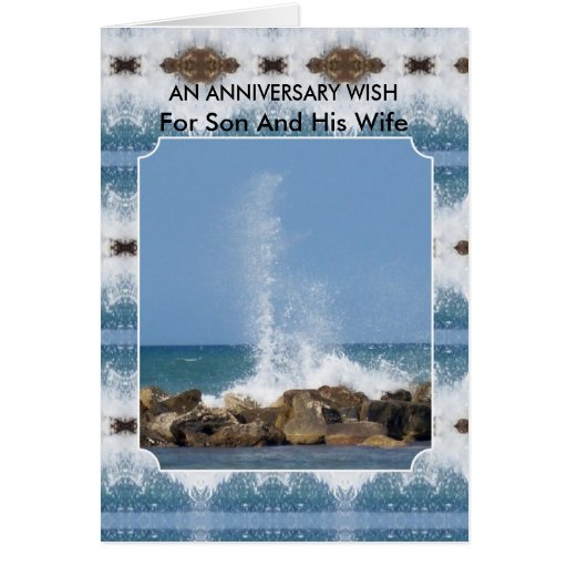 Happy Wedding Anniversary Son And Wife Sea Cards